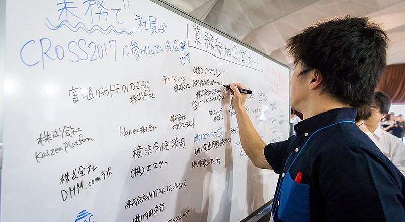 イベント会社のニューズベース|来場者の所属先が書き込まれているホワイトボードには有名企業の名が連なる